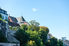 Basel munster from rhine river looking up Royalty Free Stock Image