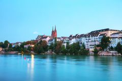 Basel cityscape in Switzerland. At night time Royalty Free Stock Images