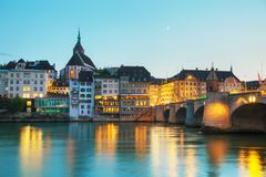 Basel cityscape in Switzerland. At night time royalty free stock photo