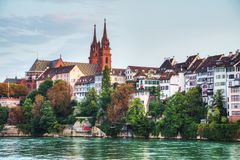 Basel cityscape in Switzerland. At night time stock photos