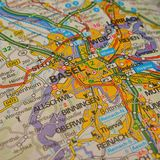 Basel. Closeup shot of a map of basel, switzerland Royalty Free Stock Photography