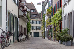 Basel Historic City Centre. Basel, Switzerland - April 14, 2017: Old houses in the historic city centre of the swiss city Basel Stock Photography