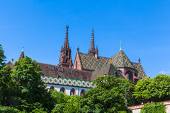 Basel Minster cathedral. View of the Basel Minster Basel Minster (Basler Munster) cathedral from the boad on Rhine river, Basel, Switzerland Stock Photography