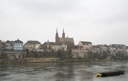 The Basel Cathedral on a Cloudy Day Stock Image