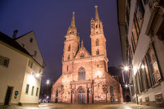 Basel Minster at Night Royalty Free Stock Photography