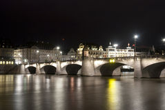 Basel Mittlere Brücke by night Royalty Free Stock Photo