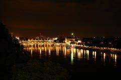 Basel-Nachtlandschaft Stockbild