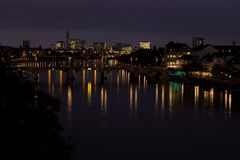 Basel by night. View on the two Basel bridges Stock Photo