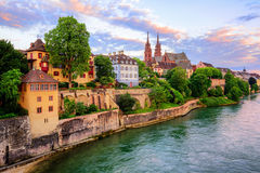 Basel Old Town with Munster cathedral and Rhine, Switzerland royalty free stock photography