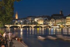 Basel på natten Royaltyfri Fotografi