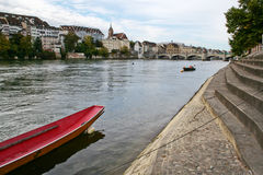 Basel and Rhine. The city Basel on the Rhine river, Switzerland Stock Images