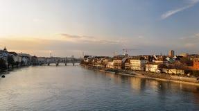 Basel river bank. Switzerland Stock Image