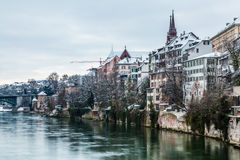 Basel Riverfront. View of the buildings along the river Rhine in Basel, Switzerland Stock Photo