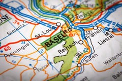 Basel on a road map Stock Photos