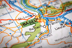 Basel on a road map Stock Image