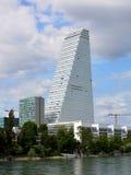 Basel - Roche Turm morgens Rhein Stockbilder