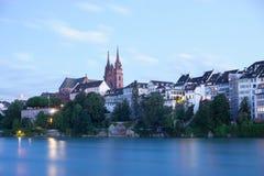 Basel Skyline At Night Stock Photo