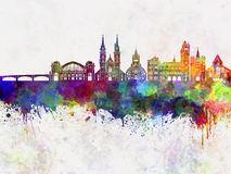 Basel skyline in watercolor Stock Photo