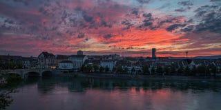 Basel-Sonnenaufgang in der Schweiz Stockbild