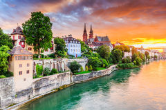 Basel, Switzerland. Old town with red stone Munster cathedral on the Rhine river royalty free stock photos