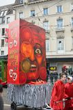 BASEL, SWITZERLAND - FEB 21. Carnival parade on Feburary 21, 2018 at Basel. The biggest cortege in Switzerland is a historically annual event with many costumed Royalty Free Stock Image
