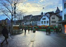 Street view of Old City in Basel stock photos