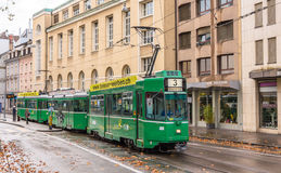 BASEL, SWITZERLAND - NOVEMBER 03: Be 4/4 SWP tram in the city ce Royalty Free Stock Photo