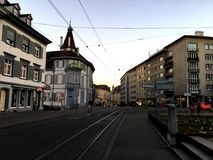 BASEL, SWITZERLAND - NOVEMBER 4, 2016: Old town with main Railway of street view in the winter season. stock photo