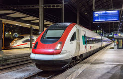 BASEL, SWITZERLAND - NOVEMBER 03: SRABDe 500, a Swiss tilting hi. Gh-speed train, on November 03, 2013 in Basel, Switzerland. The train has maximal speed of 200 Stock Photo