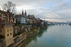 Basel, Switzerland: Panorama of city and Rhine riv Stock Photos