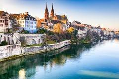 Basel, Swizterland - Munster Cathedral. Basel, Switzerland. Rhine River and Munster Cathedral, Swiss Confederation medieval city Royalty Free Stock Images