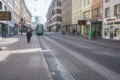 basel switzerland spårvagn Fotografering för Bildbyråer