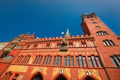 Basel town hall. Basel is a city in northwestern Switzerland on the river Rhine and third-most-populous city.  Royalty Free Stock Image
