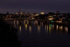 Basel vid natt Arkivfoto