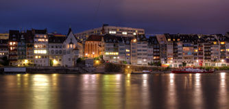 Basel waterfront on Rhine River, Switzerland stock photography