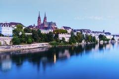 Baselarkitektur längs Rhine River Arkivbilder