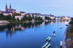 Baselarkitektur längs Rhine River Arkivfoto