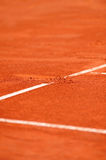 Baseline footprint on a tennis court Stock Photo