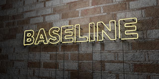 BASELINE - Glowing Neon Sign on stonework wall - 3D rendered royalty free stock illustration. Can be used for online banner ads and direct mailers Royalty Free Stock Images