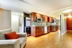 Basemenet luxury kitchen in the modern apartment. Stock Photos
