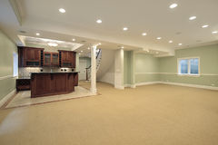 Basement with bar. Basement in new construction home with bar Stock Images