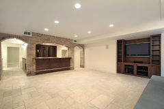 Basement with bar. Basement in new construction home with bar Royalty Free Stock Image