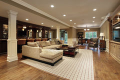 Basement with bar. Basement in luxury home with bar area Stock Photo