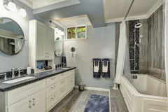 Basement bathroom interior in gray and white tones. Northwest, USA royalty free stock image