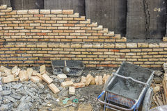 Basement brick insulation wall Royalty Free Stock Images