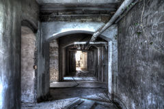 Basement corridor. With doors and pipes Stock Images