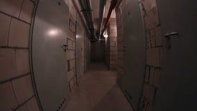 Basement corridor walking stock video footage