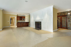 Basement with fireplace and bar Royalty Free Stock Photography