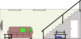Basement with Furniture royalty free illustration