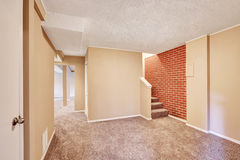 Basement hallway interior with carpet floor and brick wall. Royalty Free Stock Photo
